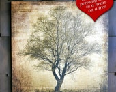 Rustic Sweetheart Tree Valentine's Day on wood with personalized names or initials printed in a heart. Great wedding gift or house warming