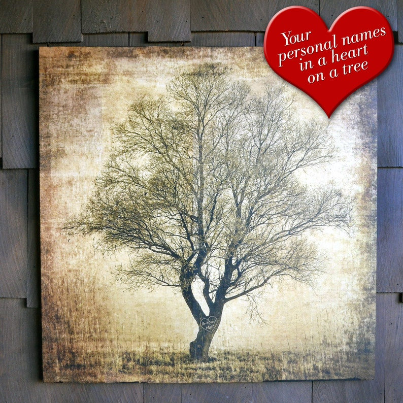 Rustic Sweetheart Tree Valentine's Day on wood with image 0