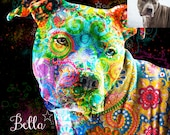 Original modern artwork made from your Pet Dog Baby Personal Portrait Photo Printed on Metal or Acrylic - Made in USA