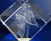 3D Crystal Photo Cube with Personalized Photo Laser Engraving - 3 Dimensional Crystal Photo 3 Available Sizes