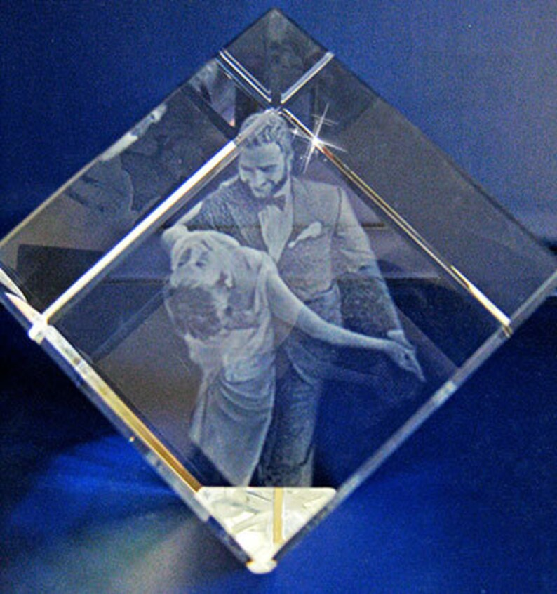 3D Crystal Photo Cube with Personalized Photo Laser Engraving image 0