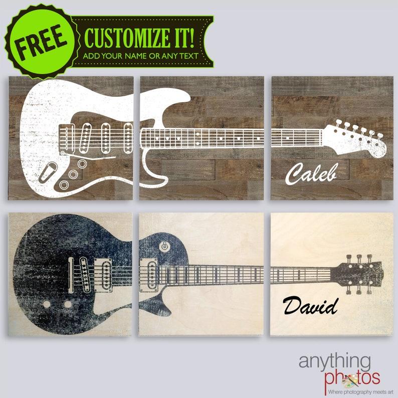 Custom Guitar Art on 3 Split Wood Panel 14 x 42 Art image 0