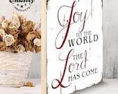 """Joy to the World the Lord Has Come Rustic Farmhouse Christmas Holiday 16x20"""" Sign Artwork"""