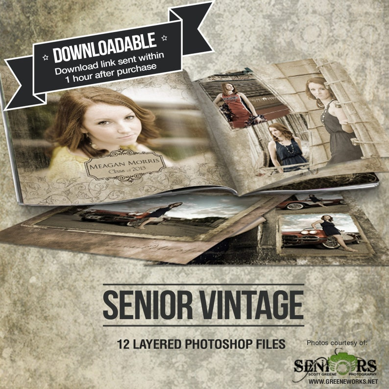 Vintage Senior Photo Book Save the Date Graduation image 0