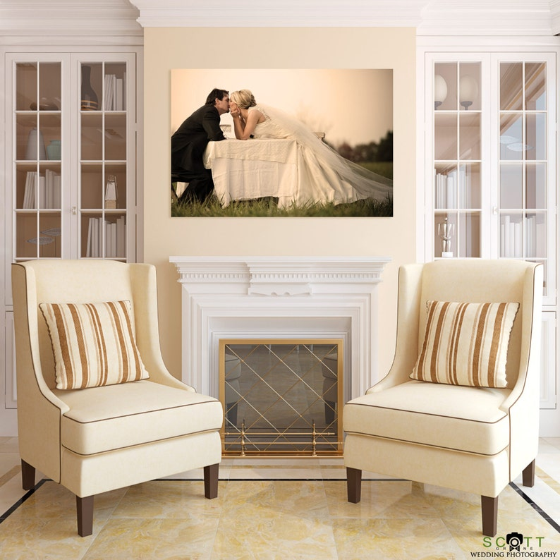 Personal Family Wedding Pet Photo Printed on Canvas image 0