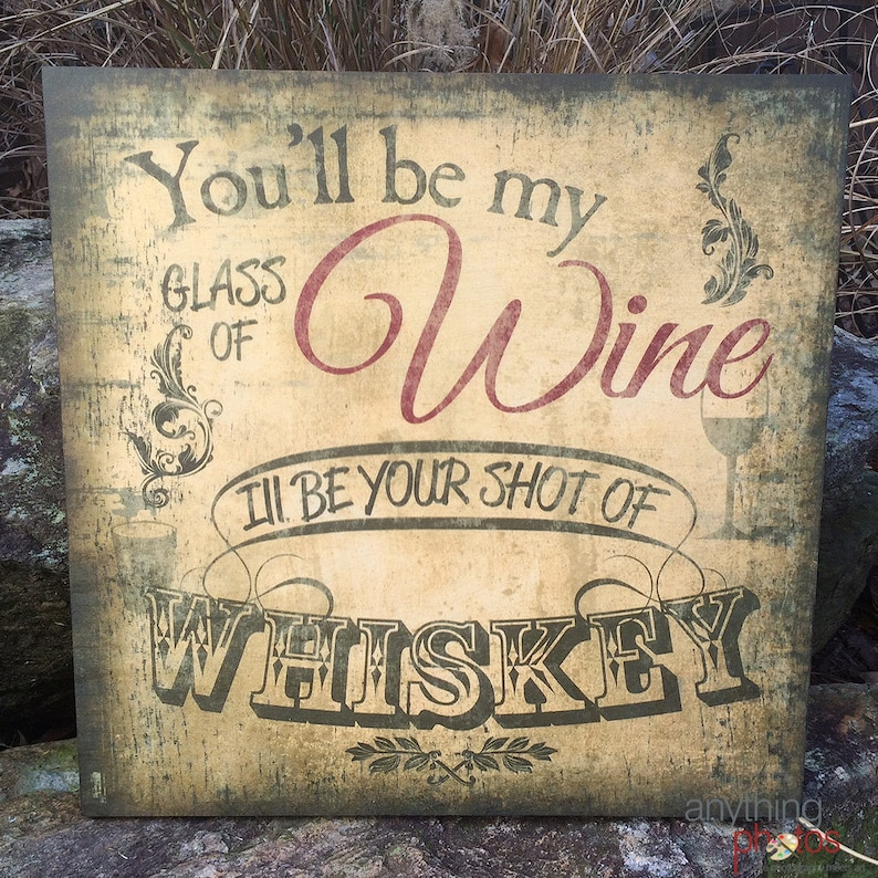 Glass of Wine Shot of Whiskey Rustic Artwork Home Decor on image 0