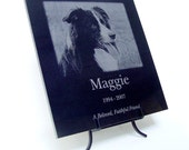 Custom Photo Pet Memorial or any Photo and Text Laser Engraved in Marble / Granite Plaque Marble Photo Plaque
