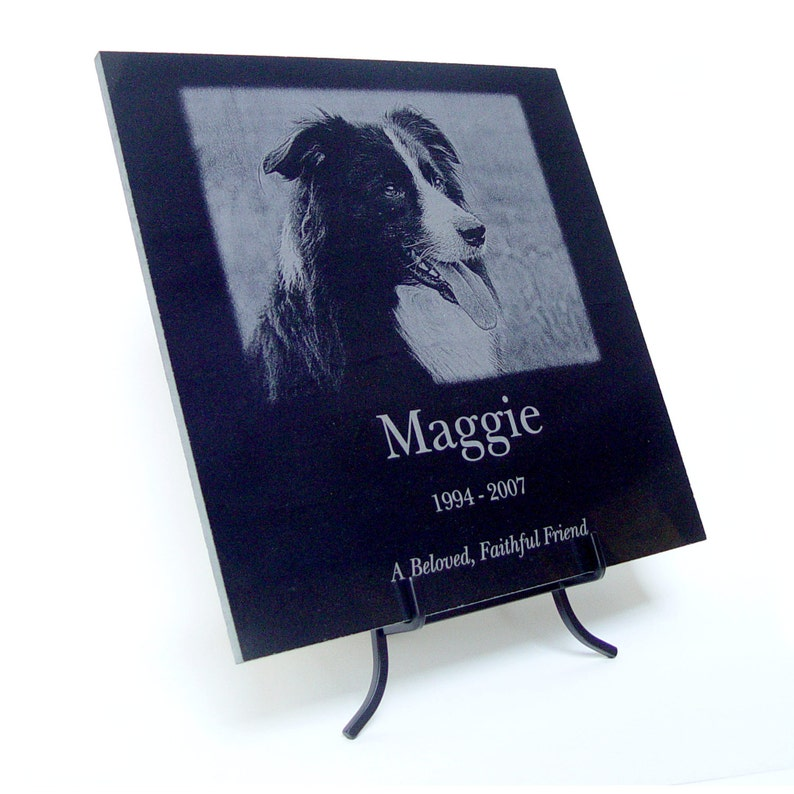 Custom Photo Pet Memorial or any Photo and Text Laser Engraved image 0