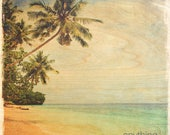Vintage Beach Ocean and Palm Tree Scene artwork cottage beach house sign on wood panel - Made in USA