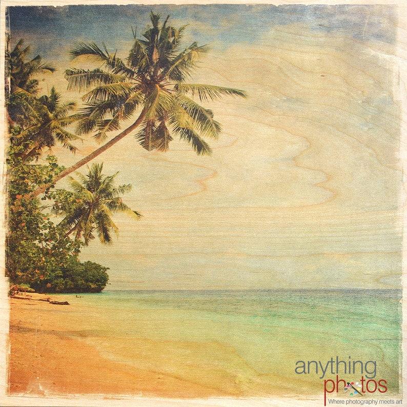 Vintage Beach Ocean and Palm Tree Scene artwork cottage beach image 0