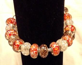 Assorted glass bead bracelet 21cm