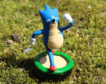 Sanic Amiibo Derpy Sonic Custom Amiibo Sculpture Handmade