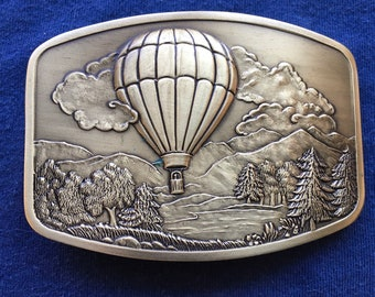 The bon voyage leather belt buckle in tan Hot air balloon belt buckle