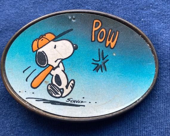 Vintage Peanuts Snoopy Baseball Belt Buckle