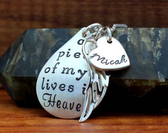 A piece of my heart lives in heaven necklace, memorial necklace