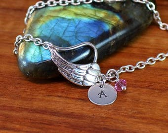 Sterling silver angel wing bracelet with initial and birthstone