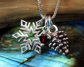 Snowflake and pinecone necklace, sterling silver snowflake necklace