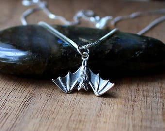Sterling silver bat necklace, bat necklace, Halloween necklace