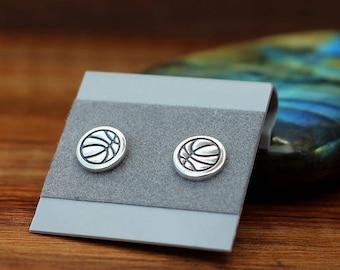 Tiny sterling silver basketball earrings