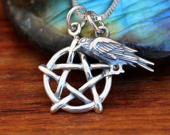 Pentagram necklace, Wicca necklace, Raven necklace, Pegan