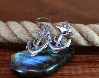 Anchor earrings, Nautical earrings, Navy earrings