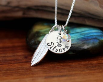 Surfer girl necklace, surfing jewelry, Ocean necklace