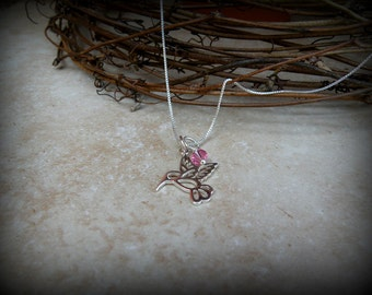 Hummingbird necklace, Sterling silver bird necklace, Hummingbird outline