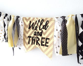 WILD And THREE Birthday Wild Three Banner Party 3 Decorations Boy Girl Gold Black White Things Third 3rd Prop
