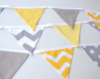 Yellow and grey bunting, baby bunting, grey and yellow nursery, baby shower decor, 1st birthday, girl, nursery decor, party decorations