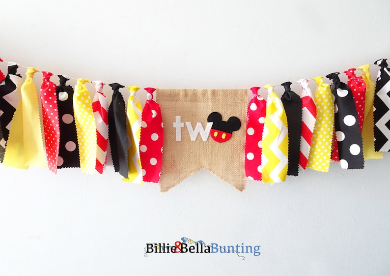 Mickey Mouse 2nd Birthday Decorations Two Party Banner Photo Prop Backdrop Bunting Theme