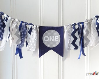 First birthday, decorations, boy, navy, grey, gray, blue, highchair, banner, 1st, cake smash, party, fabric bunting, baby boy, photo prop