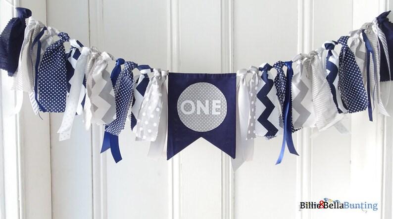 First Birthday Decorations Boy Navy Grey Gray Blue