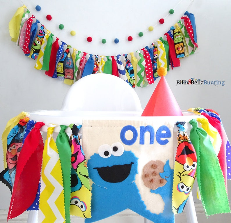 Sesame Street party decorations, 1st birthday, Cookie Monster birthday,  cake smash backdrop, photo props, highchair banner, rag tie garland