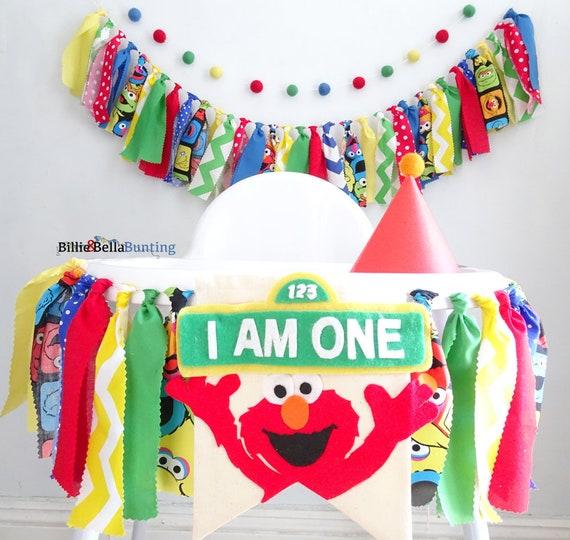 Marvelous Sesame Street Party Decorations First Birthday Elmo Birthday Banner Cake Smash Backdrop Photo Props Highchair Banner Rag Tie Garland Interior Design Ideas Tzicisoteloinfo