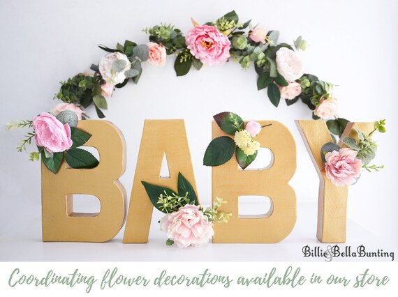 Floral Baby Shower Decorations Boho Pink And Gold Floral Flower Baby Letter Sign Baby Girl Stand Up Letters Roses Greenery Nursery