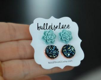 Succulent Earrings, Earrings, Stud Earrings, Druzy studs