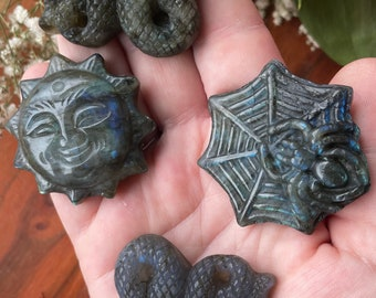 Labradorite Carvings Sun Spider Web Snakes Crystals Witch Decor Altar Decor Witchy