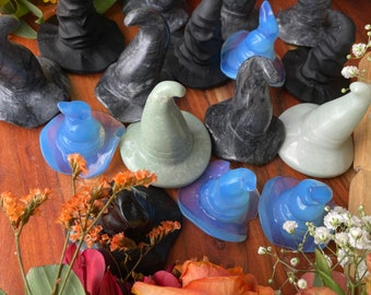 Witch Hats Crystals Carvings Witch Decor Witchy Decor Altar Decor