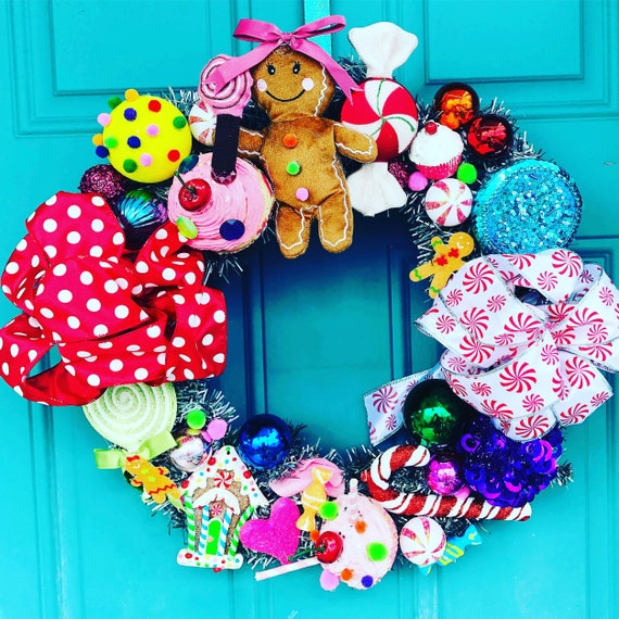 Christmas Candyland Theme.Holiday Wreath Gingerbread Man Candyland Theme Christmas Wreath Door Hanger Sweets Ready To Ship