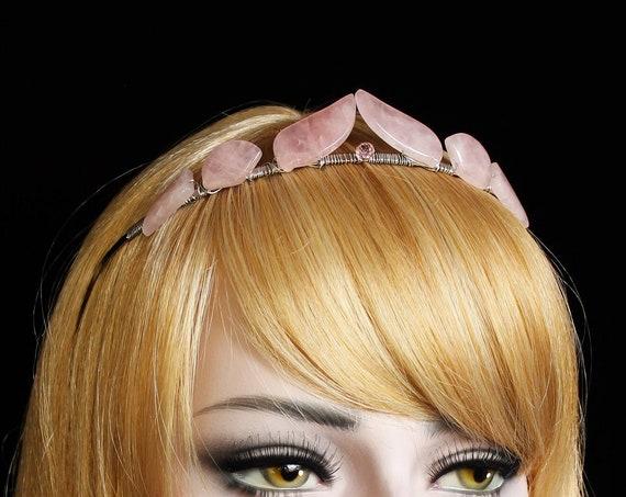 Rose Quartz Goddess Crown Quartz Bridal Gemstone Tiara Pink Halo Crown Elegant simple Pink Swarovski Tiara Quartz Crown Rose Quartz Headband