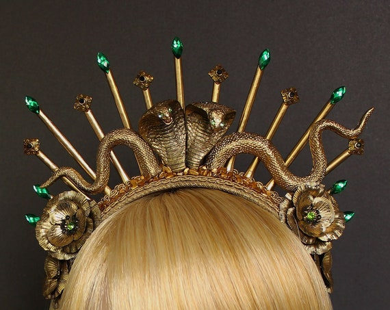 Snake Queen Headpiece Medusa Crown Cobra Crown Snake Witch Goddess Headdress Gothic Spiked Halo Crown Snake Headband Burlesque Headpiece