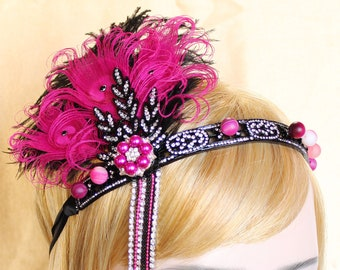 Gatsby Headpiece Pink Black 1920s Headband Gatsby Dress Gatsby Wedding Roaring 20s headband Custom Headpiece Bachelorette Hen Party Prom