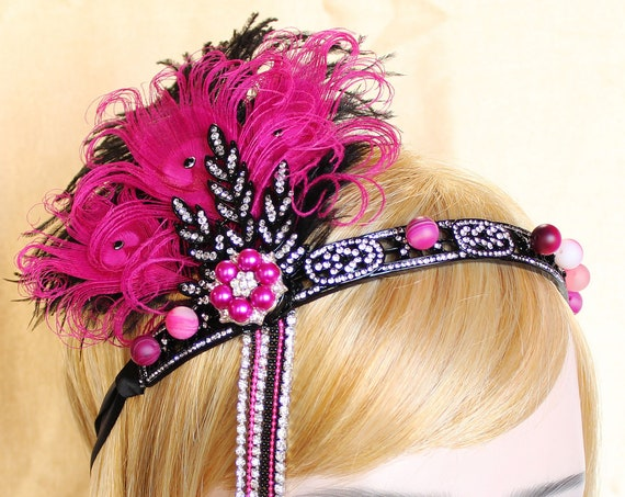 Gatsby Headpiece Pink Black 1920s Headband Gatsby Dress Gatsby Wedding Roaring 20s headband Custom Headpiece Bachelorette Hen Party Prom