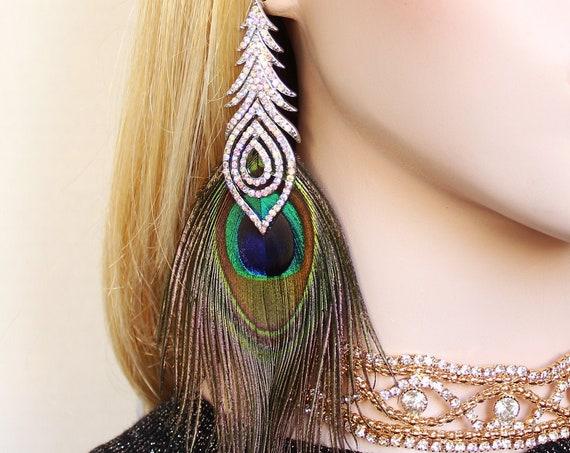 Gatsby Peacock feather Earrings Silver Crystal Chandelier Statement Earrings Wedding Dress Jewelry Bridal earrings Bridesmaid Prom Jewelry