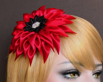 Red Flower Hair Clip Fascinator Bridal Hair Flower Satin Dahlia Wedding Fascinator Scarlet Red Flower for Hair Bridal belt Sash Bridesmaid