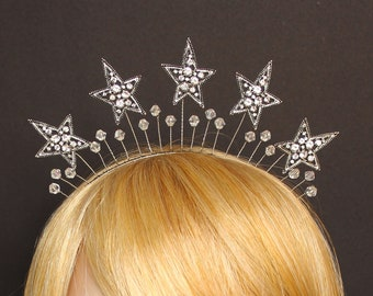 Silver Celestial Star Crown Celestial Halo Headband Crystal Bridal Headpiece Wedding Star Halo Headdress Silver Stars Headband Bachelorette