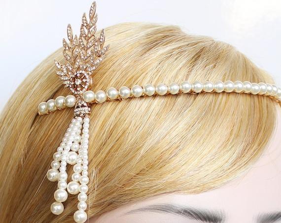 Gold Gatsby Headpiece 1920s Wedding Headband Pearl Bridal Tiara Downton Abbey Great Gatsby Tassel headband for Bride Bridesmaids Prom