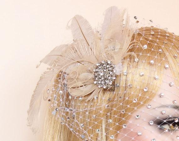 Ivory Wedding feather Fascinator Bridal hair piece Wedding headpiece Bridal hair Accessory Gatsby headpiece hair clip roaring 20s dress