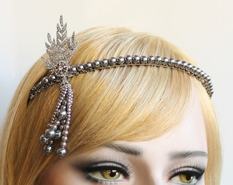 Silver Gatsby Headpiece 1920s Wedding Headband Pearl Bridal Tiara Downton Abbey Great Gatsby Tassel headband for Bride Bridesmaids Prom
