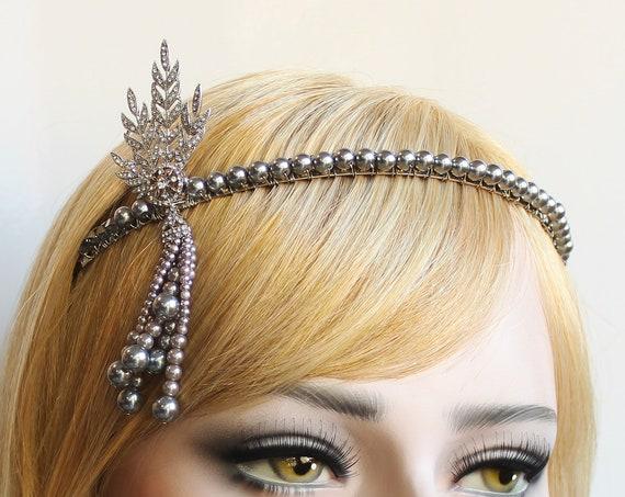 Silver Gatsby Headpiece 1920s Wedding Headband Pearl Bridal Tiara Downton Abbey Great Gatsby Tassel headband for Bride Bridesmaids Prom